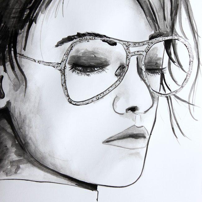 Kristen Stewart for Chanel Eyewear Illustration Zeichnung von farbenzirkus