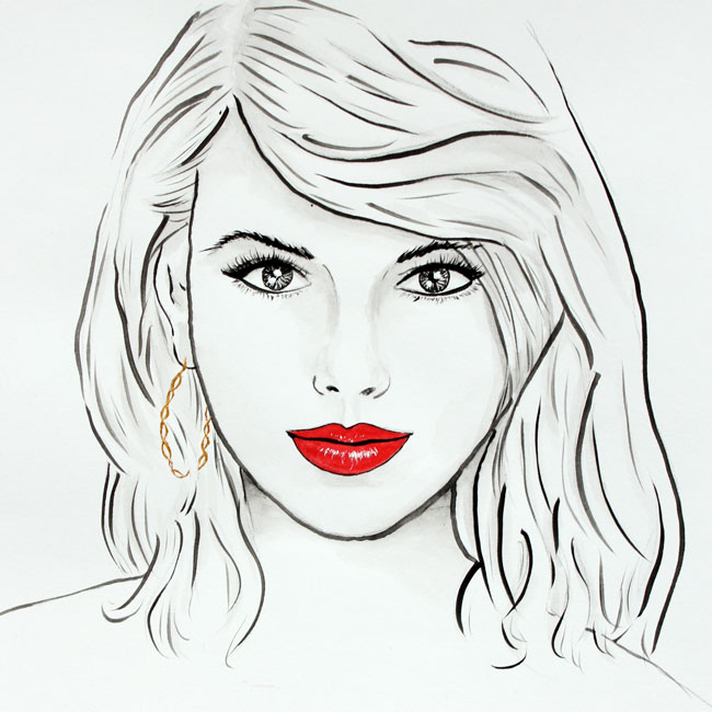 Girls Taylor Swift Portrait von farbenzirkus
