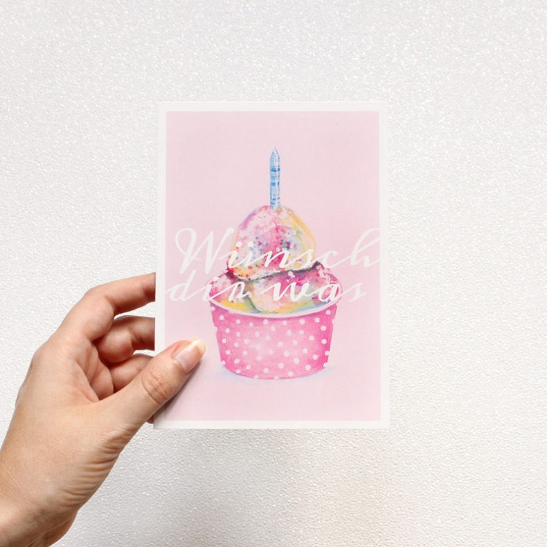 Postkarte Geburtstag Wünsch dir was Illustration Kuchen Happy Birthday