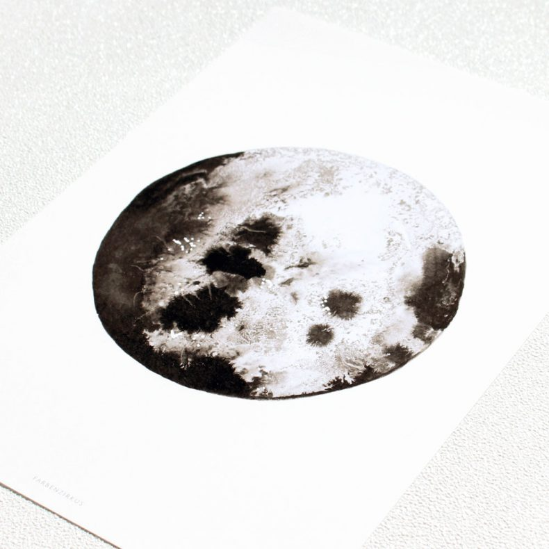 Galaxy Planeten Aquarell Mond Watercolor Universe Moon Luna