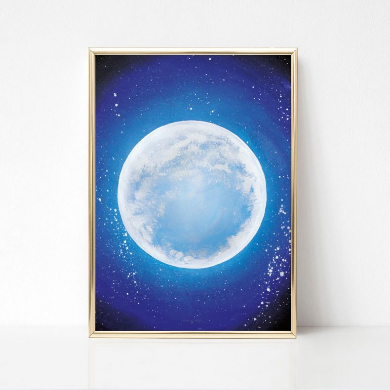 Galaxy Planeten Aquarell Mond Watercolor Universe Blue Moon Luna